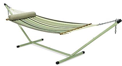 Oak N Oak-Quilted Hammock Single- Comfortable Sleeping Hanging Hammock/Quilted Hammock Swing/Outdoor Hammock Furniture for Home Patio Garden, Camping, Beach & Leisure Backyard, 36 Wide – Coffee Stripe