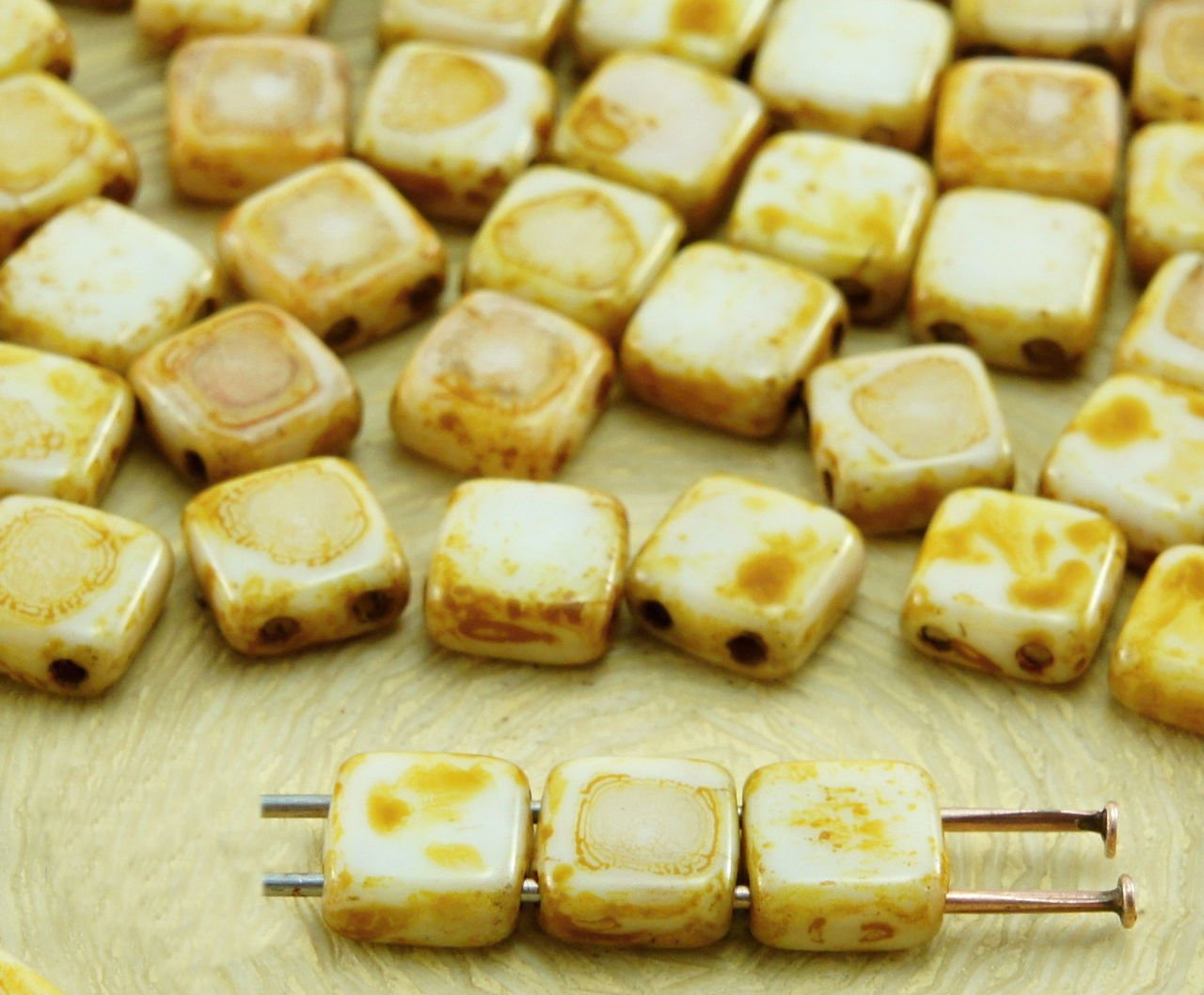 40pcs Picasso Tile Flat Square 2 Two Hole Czech Glass Beads 6mm