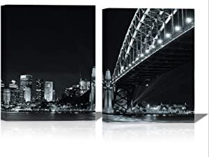 Bridge Canvas Wall Art for Living Room Framed Black White City Night Scenery Wall Decor Lighting on Modern Construction Painting Prints 12×16 Inches Prints Artwork of Urban Bright Lamp 2 Panels
