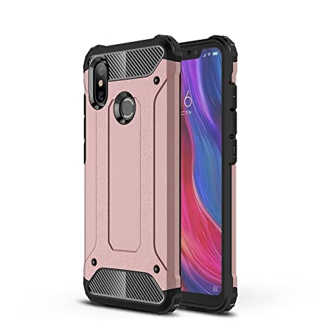 AOBOK Funda Xiaomi Mi 8, Doble Capa Híbrida Armor Funda Shock-Absorción Armadura Proteccion Carcasa para Xiaomi Mi 8 Case (Oro Rosa)