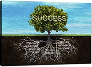 Framed Motivational Canvas Wall Art Success Tree Roots Inspirational Posters Office Quotes Wall Decor Entrepreneur Posters Ready to Hang for Home Office Decor - 24''Hx36''W