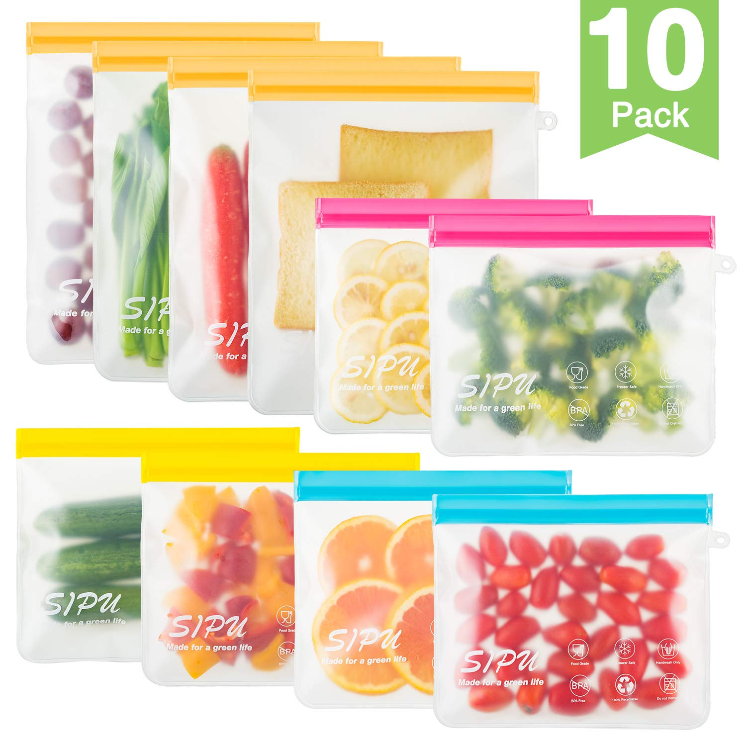 [10 Pack] DUAL Leakproof Reusable Storage Bags - (4 Gallon Bags + 6 Sandwich Bags), Reusable Ziplock Bags Freezer Safe, Extra Thick PEVA BPA Bags for Lunch, Snacks, Toiletries, Make-up
