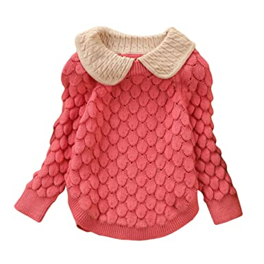 edbe6d8eb95f Amazon.com  Toddler Baby Girl Cable Knit Sweater Lovely Kid Pullover ...