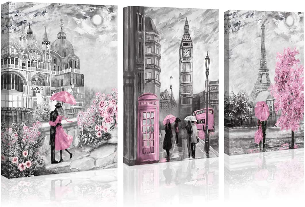 Paris Decor Canvas Wall Art for Living Room Girls Bedroom Pink Paris Theme Oil Painting London Big Ben Tower Eiffel Canvas Prints Europe Black and White Buildings Picture Wall Decoration for Bathroom