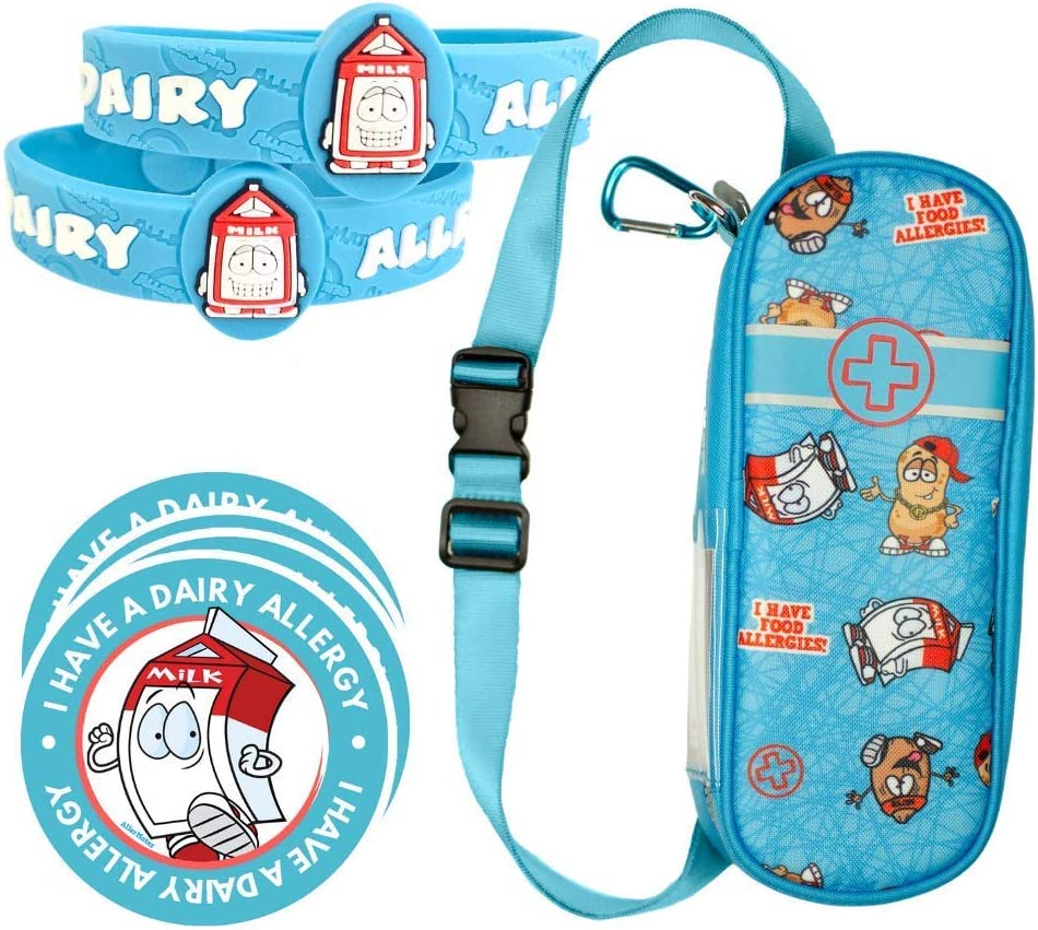 AllerMates Deluxe Kids Medical Health and Safety Bundle Including Carrying Case for EpiPen or Auvi-Q, Dairy Medic Alert Allergy Awareness Bracelet (2 Pack), and 2
