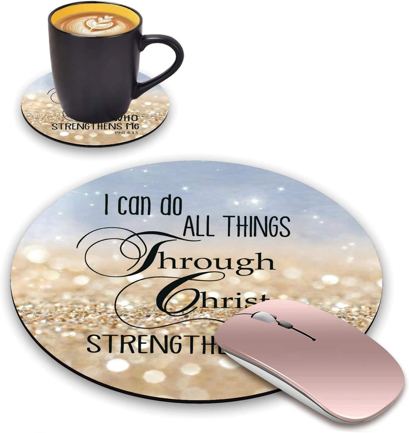 BWOOLL Round Mouse Pad and Coasters Set, Rainbow Glitter Mousepad, Inspirational Quotes Christian Bible Verse Phil 4-13 Mousepad, Non-Slip Rubber Base Mouse Pads for Laptop and Computer