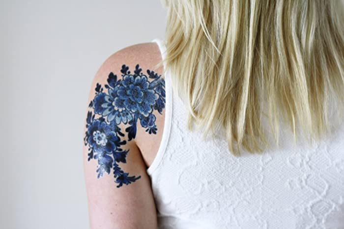 Amazoncom Large Delft Blue Floral Temporary Tattoo Handmade