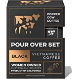 Copper Cow Coffee Vietnamese Pour Over Coffee Filters – Single-Serve and All-Natural Pre-Filled Coffee Filters – Just Black (