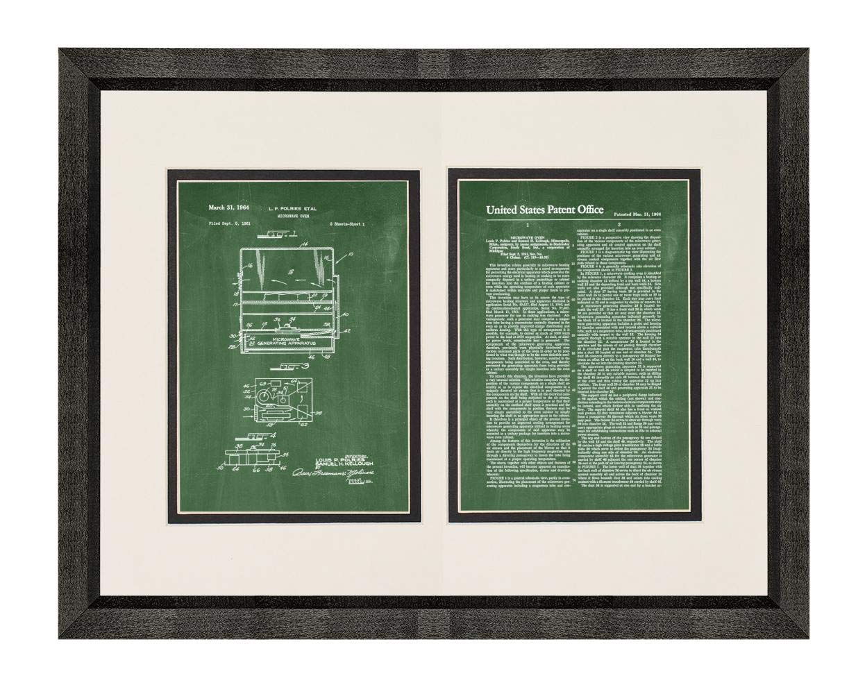 """Microwave Oven Patent Art Green Chalkboard Print in a Beveled Black Wood Frame with a Double Mat (20"""" x 24"""") M15868"""
