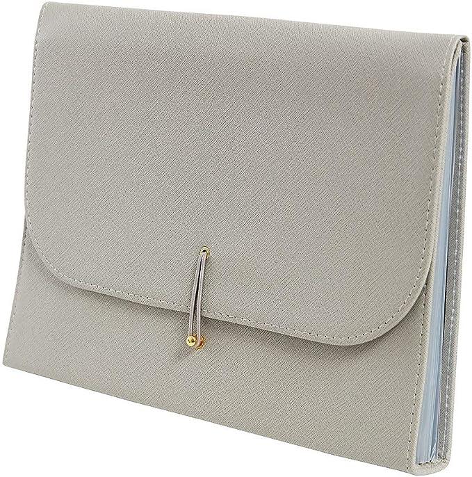 51825 Staples 2756962 13-Pocket Dark Grey Leatherette Expanding File Folder Letter