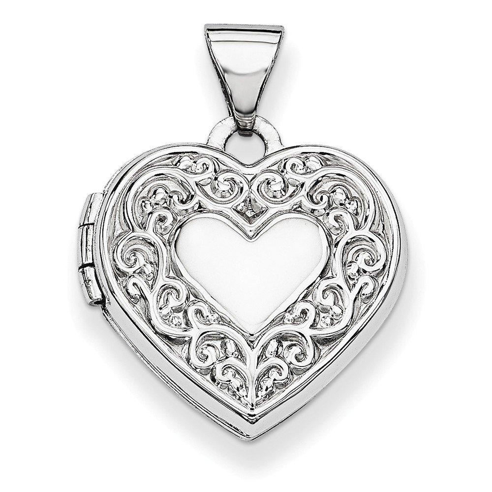14k White Gold Heart Locket Pendant (15 x 21 mm)