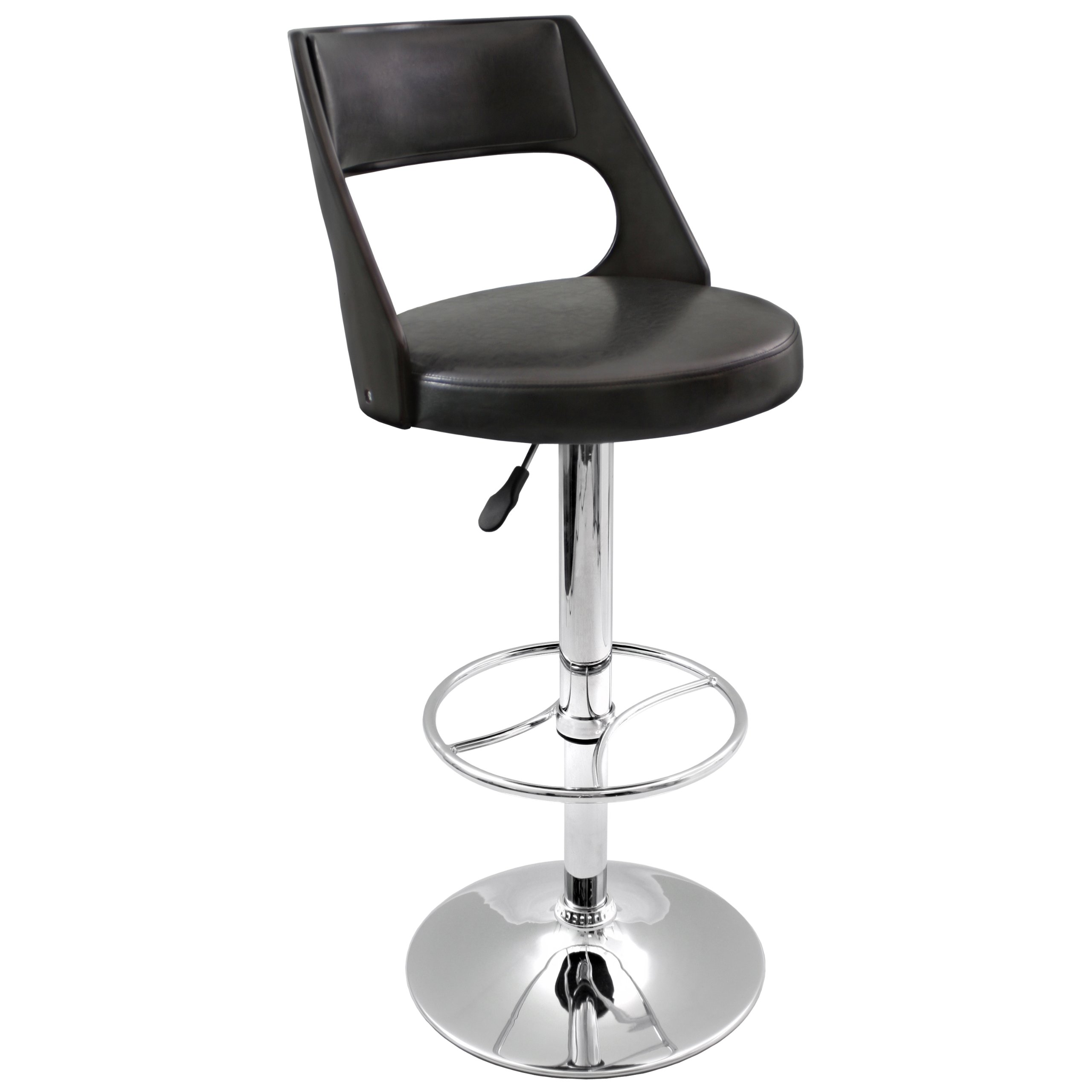 Lumisource Presta Barstool, Wenge Wood/Black Seat