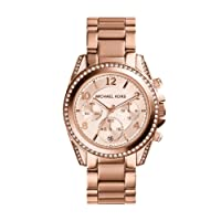 Michael Kors Rose Goldtone Blair Chronograph Watch with Clear Stones on Top Ring and Lugs