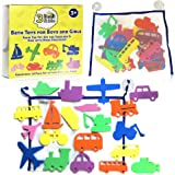 3 Bees & Me Bath Toys and Bath Organizer Set - 20 Foam Toys for Boys & Girls plus Storage Net