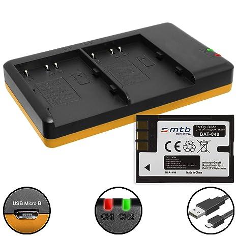 Batería + Cargador doble (USB) para BLM-1 / Olympus C-7070 ...
