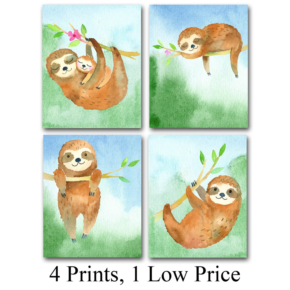 Lone Star Art Sleepy Sloths   Set Of Four Photos (8x10) Unframed   Perfect Gift For Kids Great Nursery Or Child's Room Decor by Lone Star Art