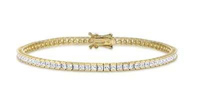 Carissima Gold Women's 9 ct Yellow Gold Cubic Zirconia Square Tennis Bracelet of Length 19 cm