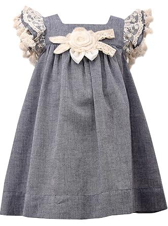 f957ddeda Amazon.com: Bonnie Baby Girls Chambray Lace Float Dress (4T): Clothing