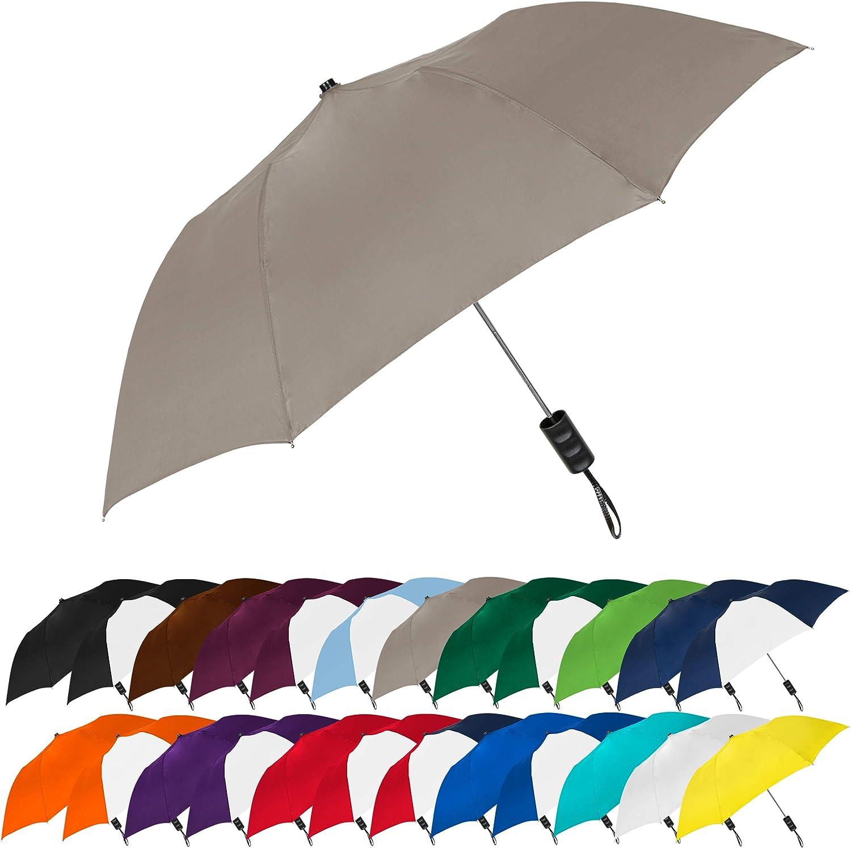 STROMBERGBRAND UMBRELLAS Spectrum Popular Style Automatic Open Close Small Light Weight Portable Compact Tiny Mini Travel Folding Umbrella for Men and Women, Gray