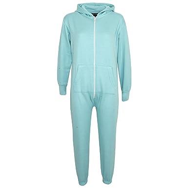 6c835db025 Kids Girls Boys Plain Color Fleece Hooded Onesie All in One Jumpsuit 5-13  Years
