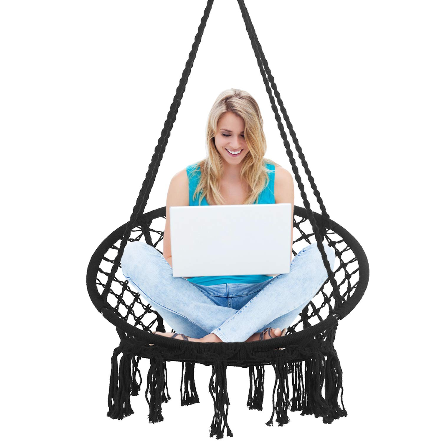 Bathonly Hammock Chair Macrame Swing Handmade Knitted Hanging Swing Chair, Cotton Rope Chair for Indoor Outdoor, Bedroom, Yard, Porch,-330lb Capacity Black