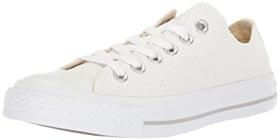 37487bf963a9 Converse Women's Chuck Taylor All Star Perforated Canvas Low Top Sneaker,  White, ...