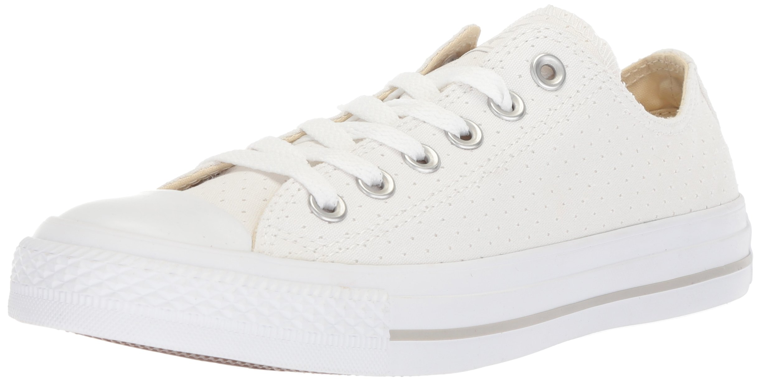 Converse Women's Chuck Taylor All Star Perforated Canvas Low Top Sneaker, White/White/White, 8 M US