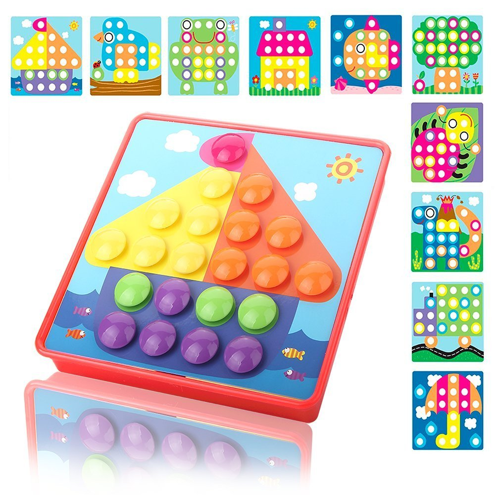 NextX Button Art Color Matching Mosaic Pegboard Puzzles Early Learning Educational Toys For Boys and Girls