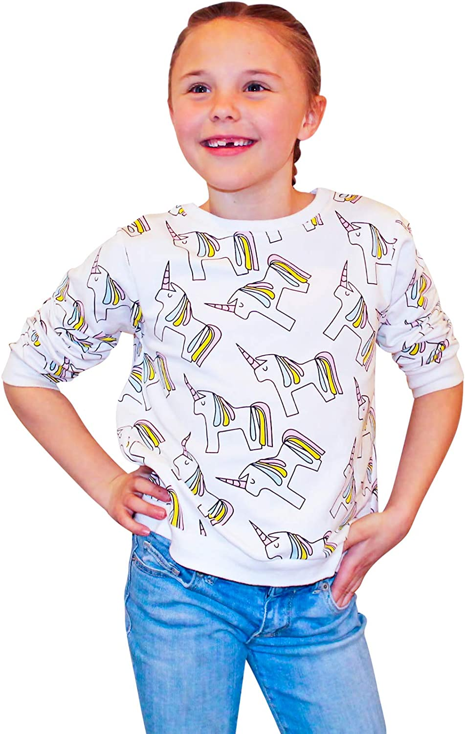 Big Kid Sweatshirts and Toddler Girl Clothes 3 Kids Unicorn Sweater for Girls