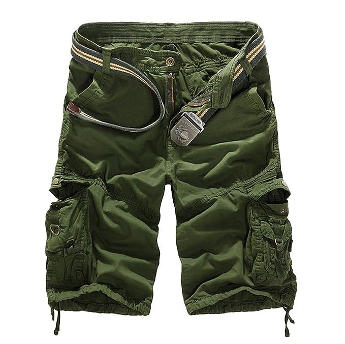 7440833739 Elonglin Mens Casual Cargo Shorts Multi Pockets Capri Pants Army Green 28  (Asian 29)
