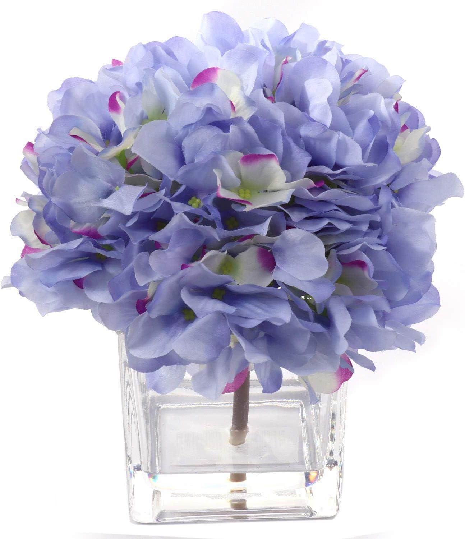Amazon Com Blue Hydrangea Flower Arrangement In Vase Blue Light Purple Hues Scratch Resistant Glass Water Look Silk Hydrangea Great Kitchen Dining