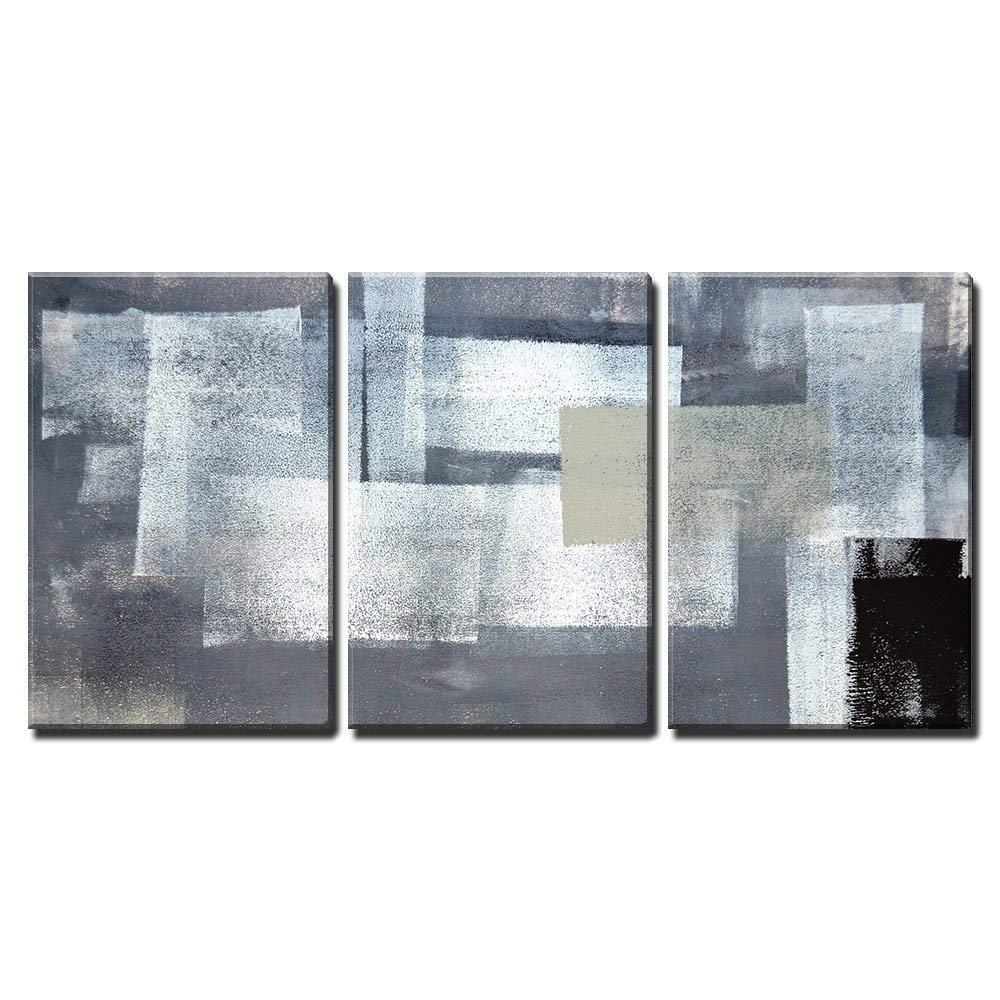 wall26 - 3 Piece Canvas Wall Art - Grey and Green Abstract Art Painting - Modern Home Decor Stretched and Framed Ready to Hang - 24''x36''x3 Panels