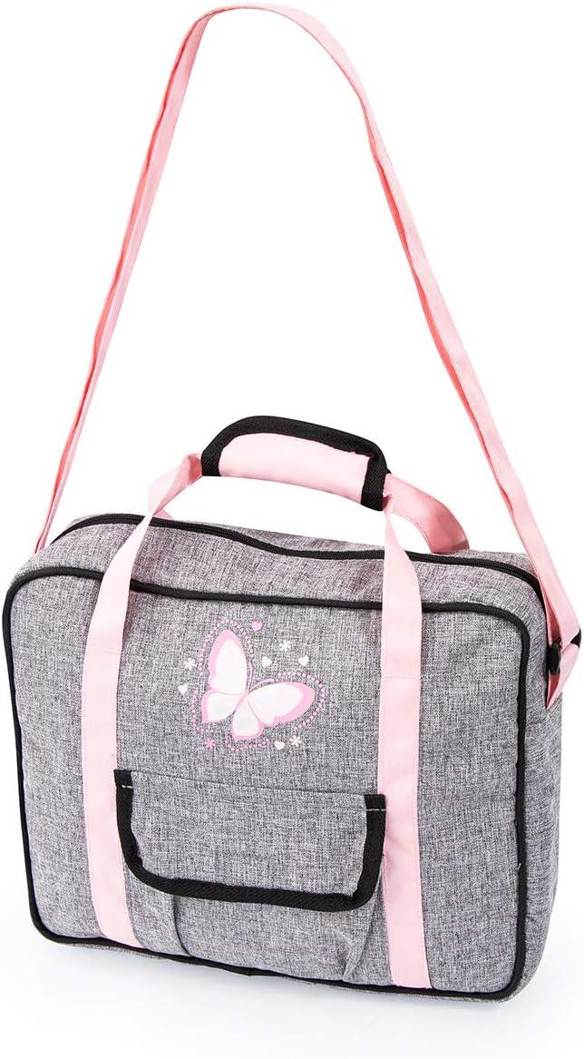 accessori per bambole pannolino farfalle rosa fasciatoio portatile borsa grigio