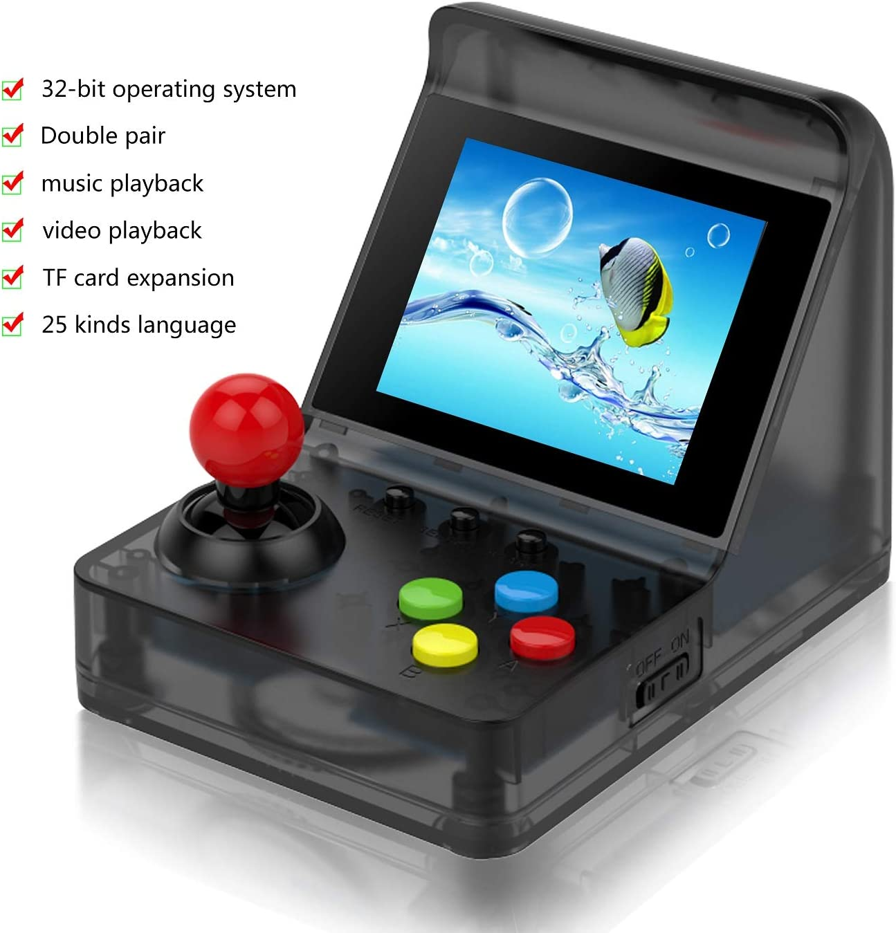 BAORUITENG Handheld Game Console, Retro Arcade Mini Game Console for Game Player with 3 Inch 512 Games 32 Bit Portable Game Console,Birthday Gift for Children (Black)