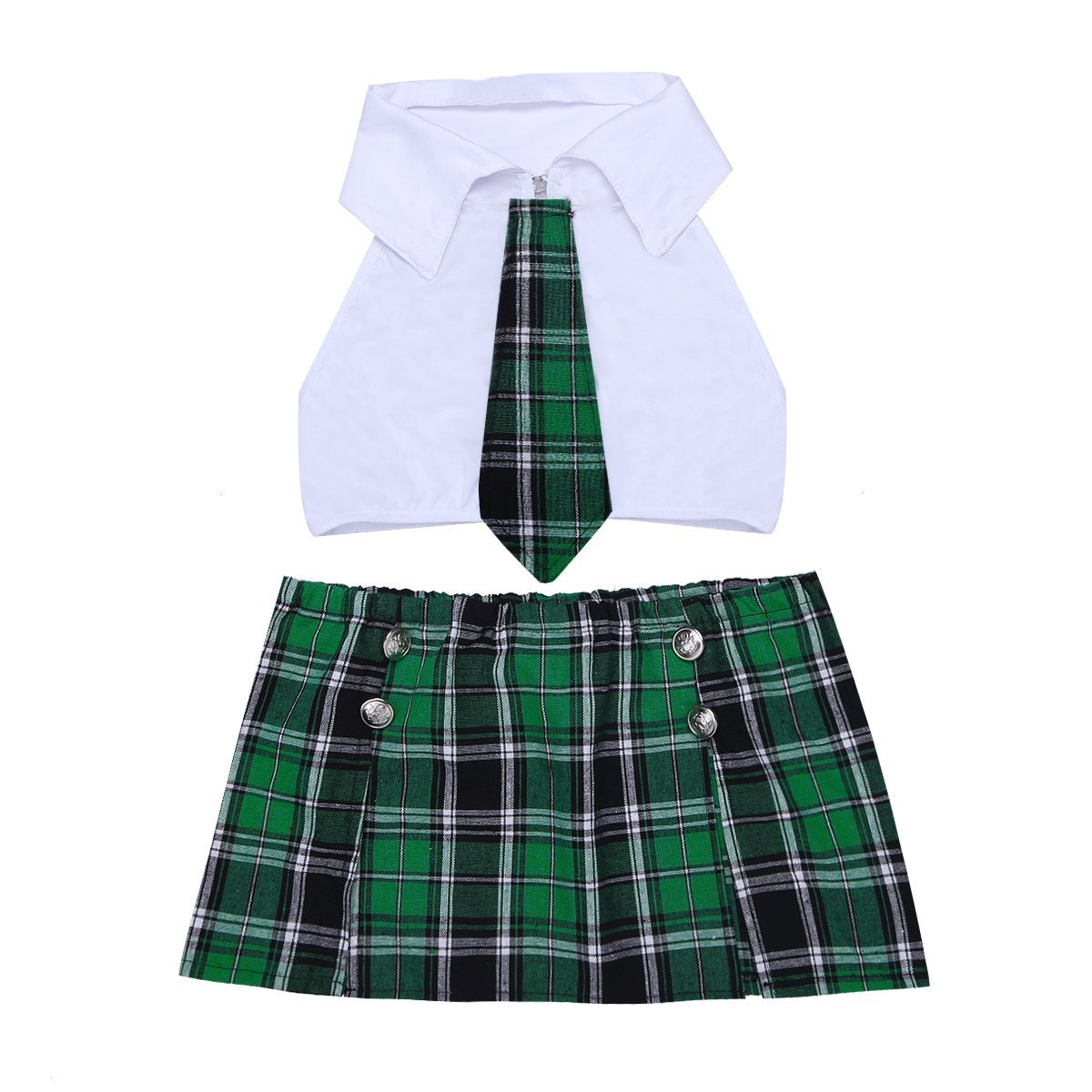 9d8833225c Amazon.com: dPois Womens School Girl Cosplay Fancy Dress Costume Crop Top  with Plaid Mini Skirt Uniform Sets: Clothing