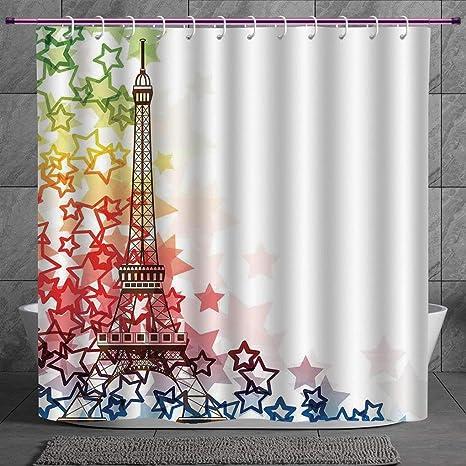 Shower Curtain Waterproof Mildewproof Polyester City Landmark Paris Eiffel Tower Red 72 x 72