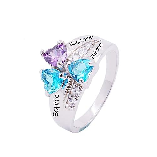 Amazon.com: kikishopq Anillo de boda 3 piedra preciosa ...