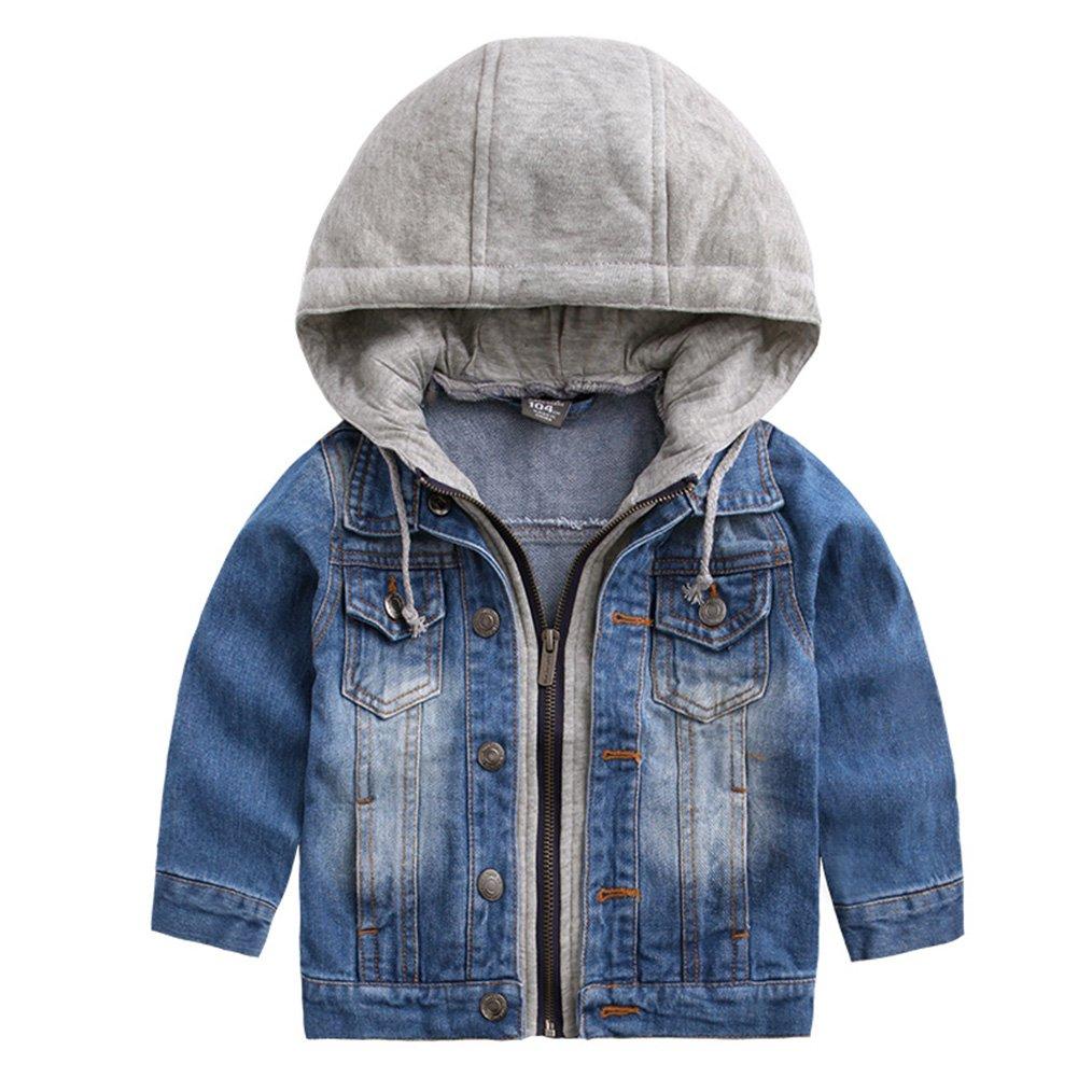 daqinghjxg Denim Jacket Classic Zipper Hooded Outerwear Kids Jacket Coat as Picture 7 by daqinghjxg