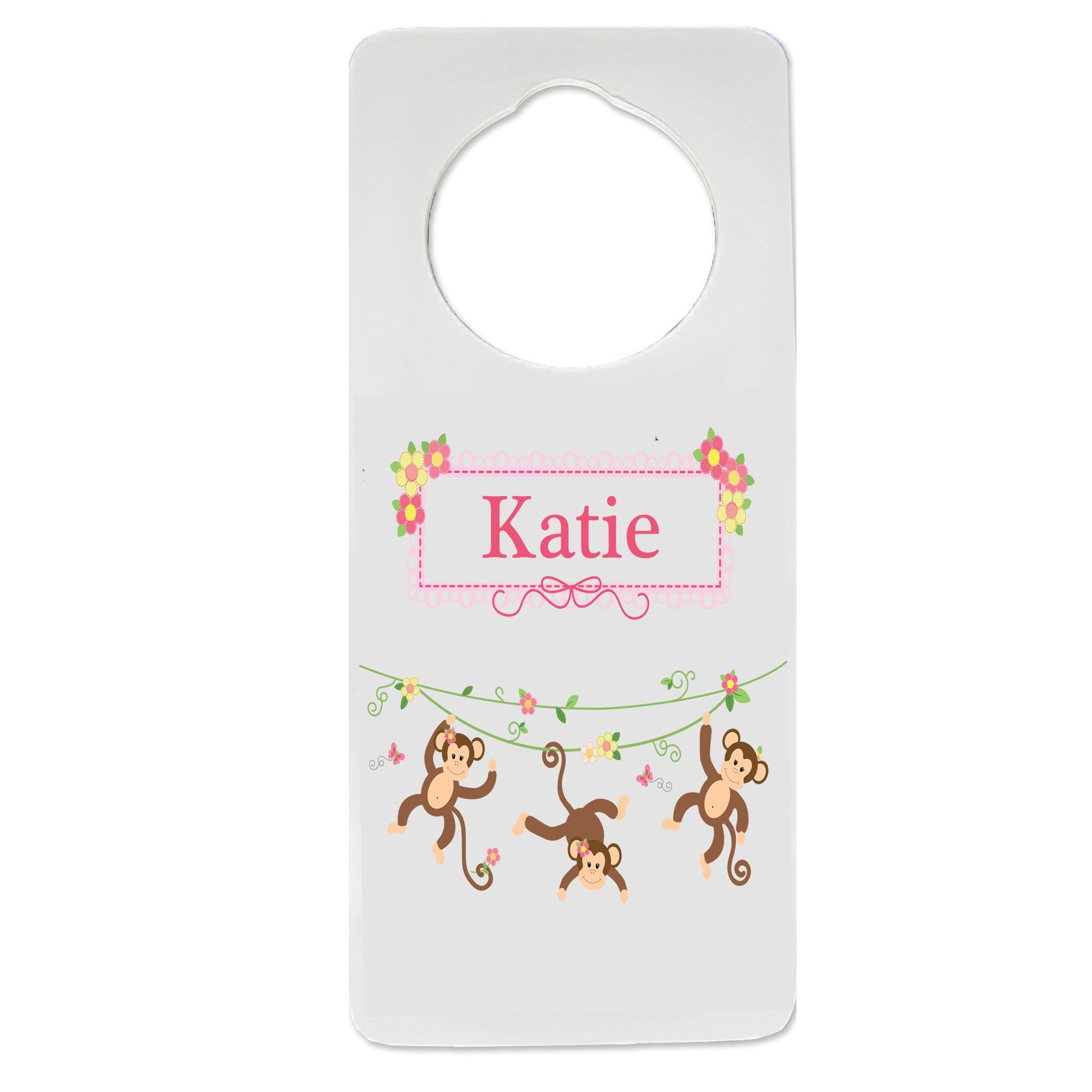 Personalized Monkey Girl Nursery Door Hanger