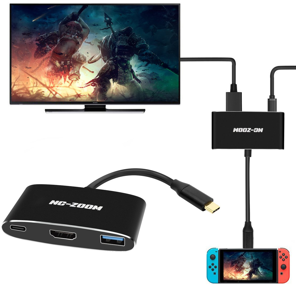 NC-ZOOM USB-C HDMI Adapter for Nintendo Switch,Type C USB to HDMI Converter Dock Cable for Nintendo Switch - Support MacBook Pro