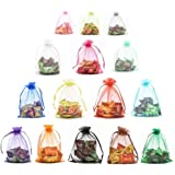 """Halulu 5""""x7"""" Color Mixing Drawsrting Organza Jewelry Pouch Party Favor Bags,Pack of 100"""