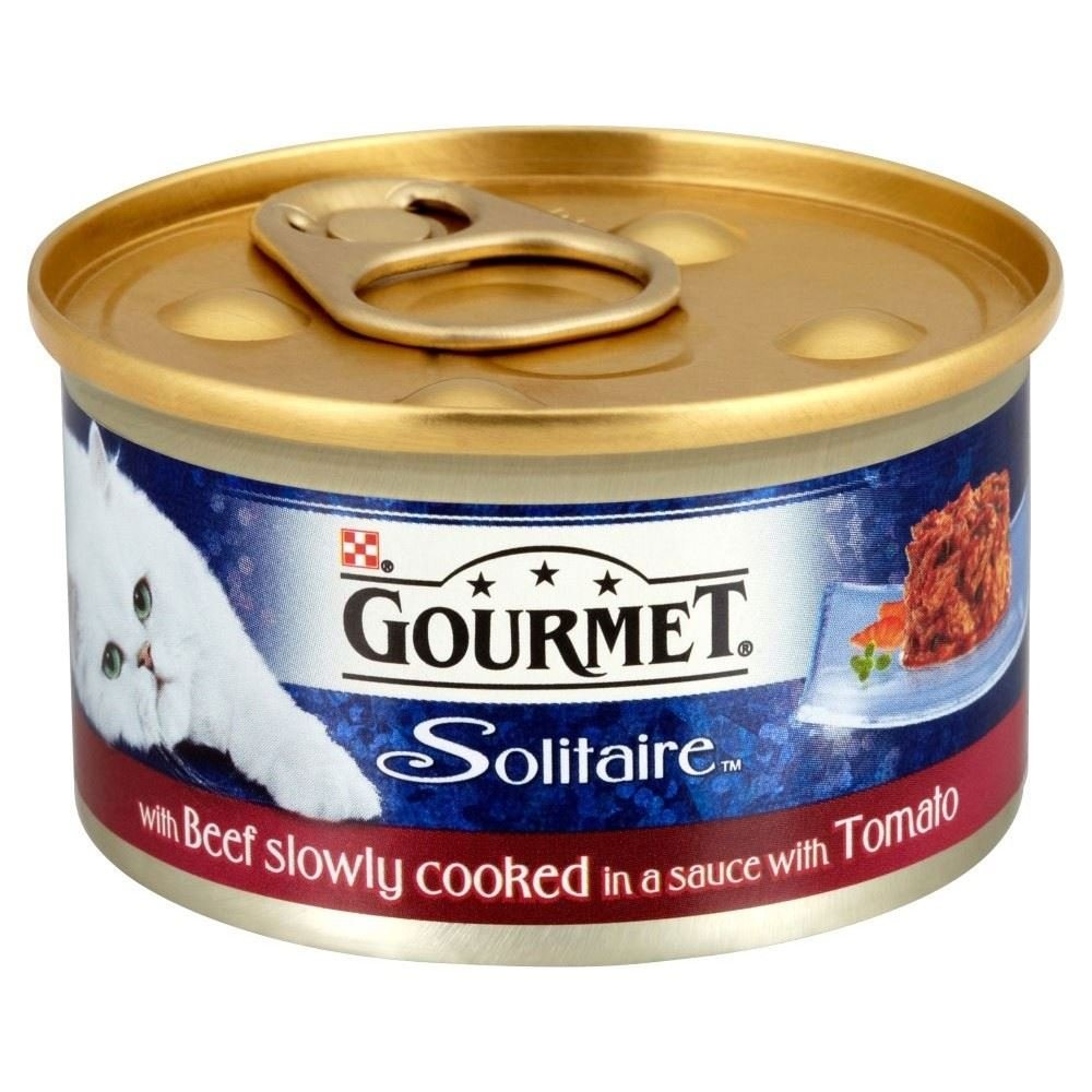 Gourmet Solitaire Premium Fillets with Beef in Tomato Sauce (85g)