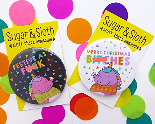 IDEAL FOR CHRISTMAS STOCKING FILLERS /& GIFTS FUN CHRISTMAS BADGES 58mm