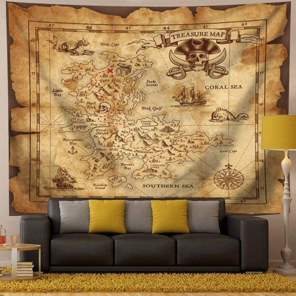 "Treasure Map Tapestry Pirate Tapestry Island Map Super Detailed Treasure Map Pirates Gold Secret Sea History Psychedelic Wall Hanging Tapestry Halloween Tapestry For Bedroom Living Room Dorm Yellow And Gold (59""L*51""W)"