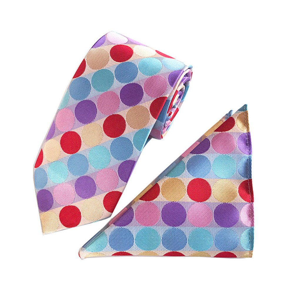 L04BABY Mens Colorful Polka Dot Jacquard Woven Formal Suit Necktie+Pocket Square