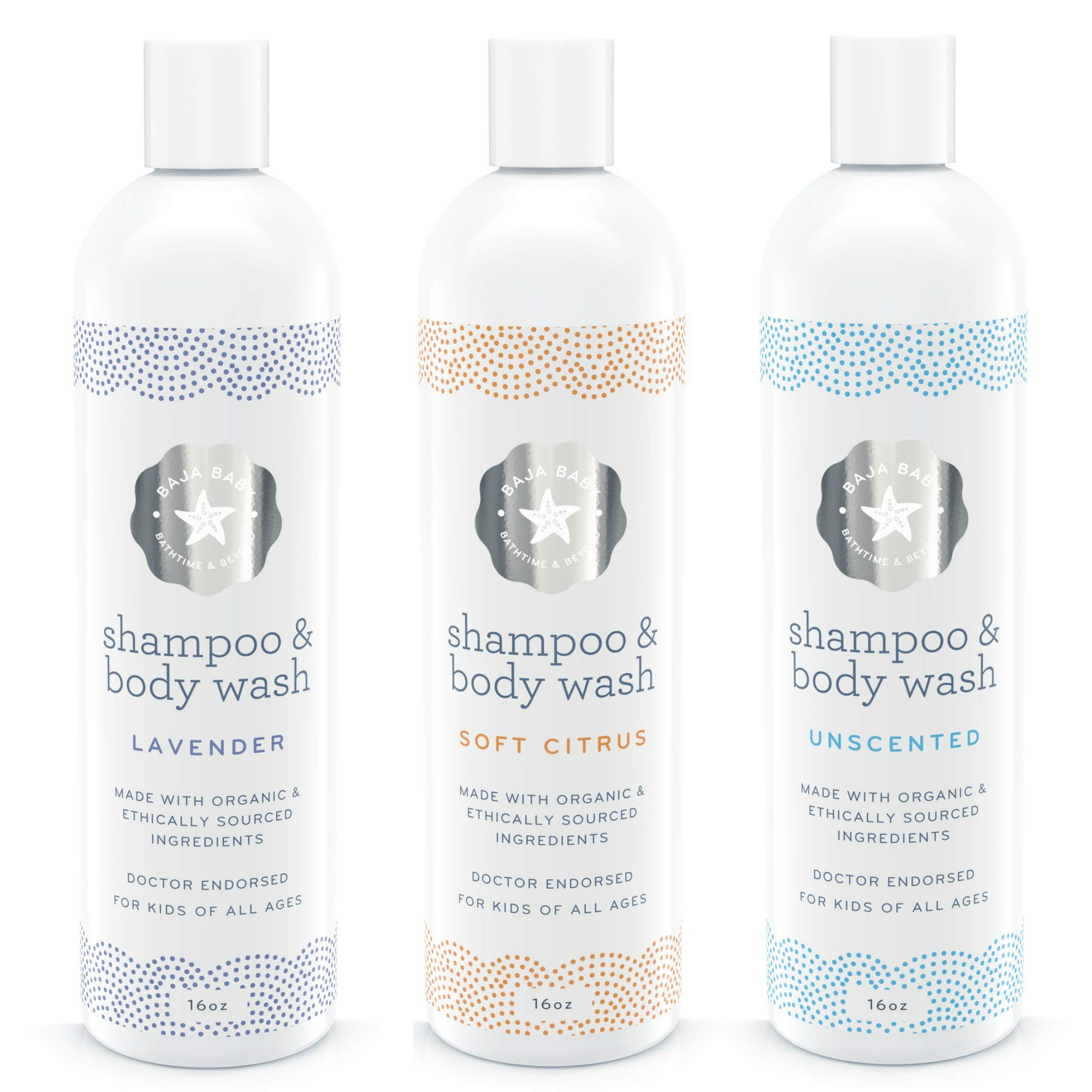 Set of 3 15% Off - Organic Shampoo Unscented, Citrus & Lavender - All Natural Organic - EWG Verified - 16 Ounce Each - Vegan Gluten-Free Cruelty-Free - PETA Approved - Sensitive Skin and Cradle Cap by Baja Baby