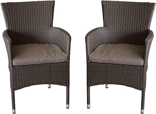 Butacas de 2 unidades, ratán sintético, apilable, color marrón jaspeado. + asiento cojín/Jardín Sillón Silla apilable silla de jardín ratán rattan Silla terraza balcón para muebles muebles de jardín: Amazon.es: Jardín