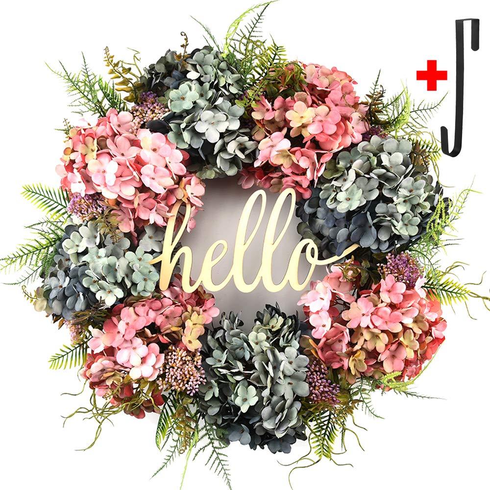 Hydrangea wreaths for front door,Outdoor summer wreaths for front door,Fall spring handmade Hello Wreath for Front Door,Farmhouse Wreath ,Rustic Wreath,Grapevine Wreath,Window Decoration (20 inches) by DOFW