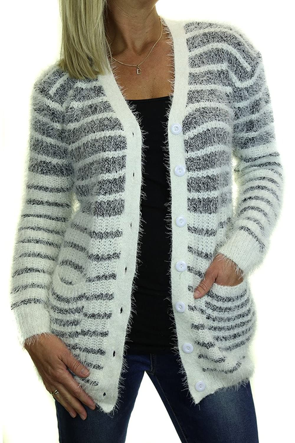 ICE (5137-2) Thin/Thick Stripe Snow Knit Cardigan With Pockets Grey Cream