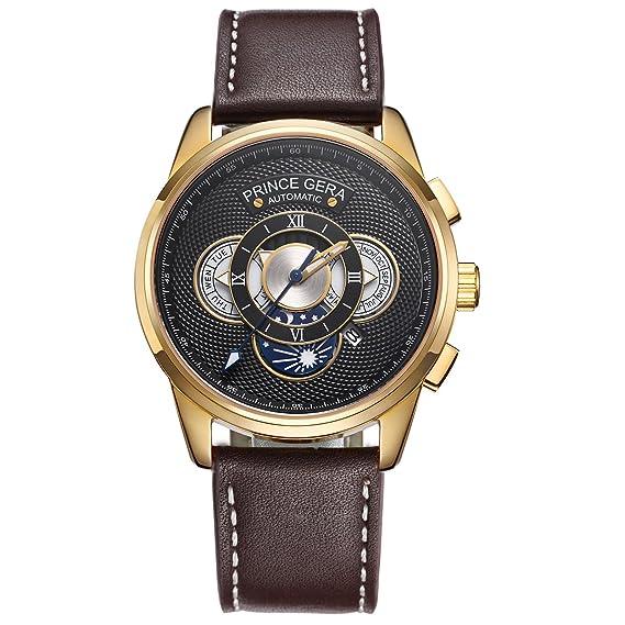 PRINCE GERA reloj de cuero para hombres 18K chapado en oro caja automática relojes de pulsera
